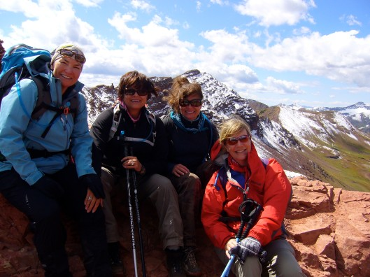A photo of Erin, Joanne, Fawn and Spice Jones on West Maroon Pass, 2011