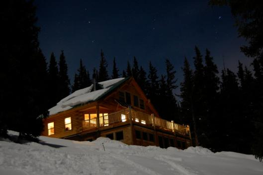 Sangree's Hut in moonlight, 10th Mountain Hut Division
