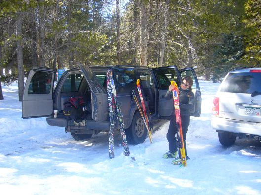 Putting the skins on the skis for the 10th Mountain Huts