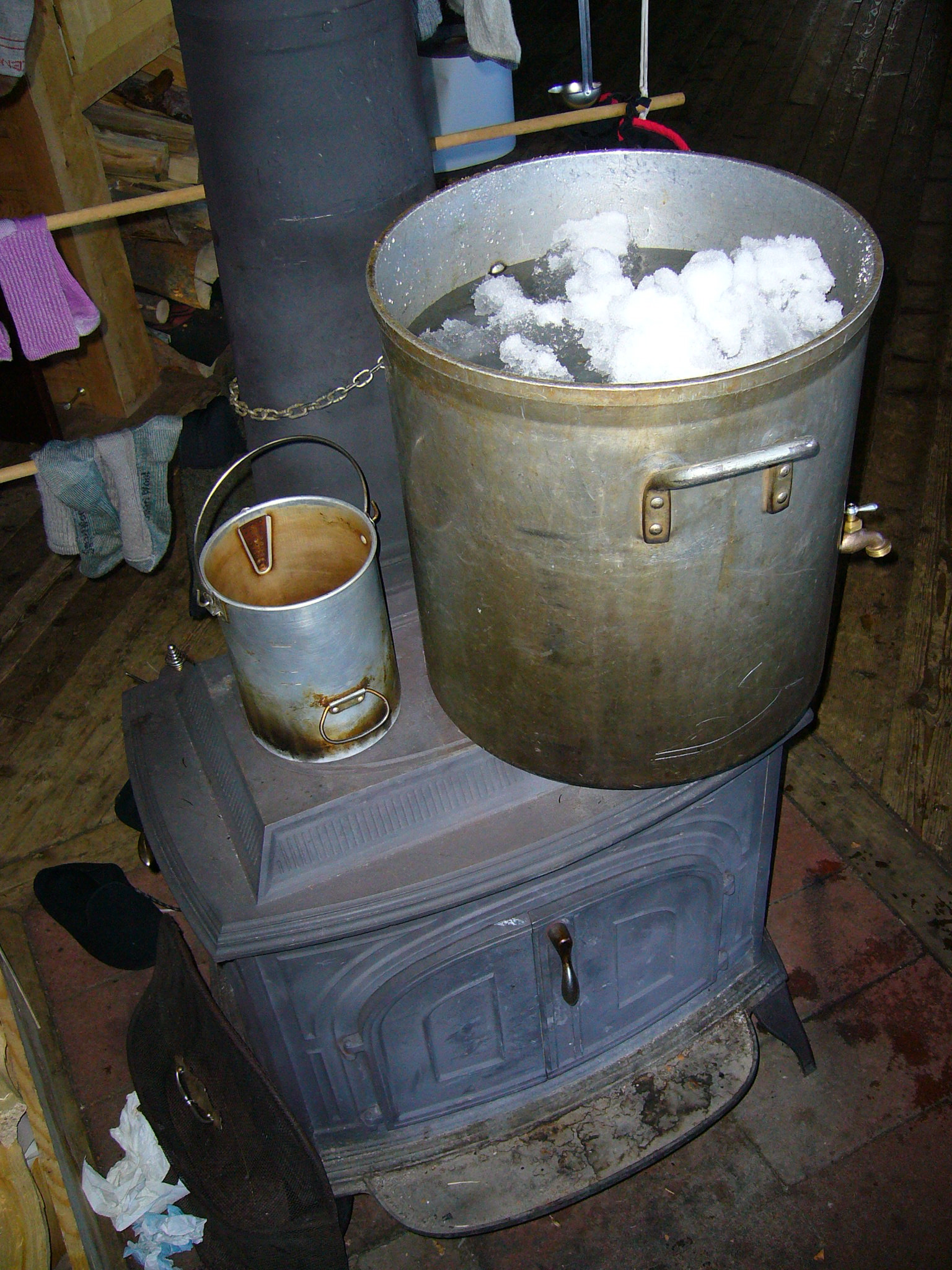 off grid cabin water in the winter