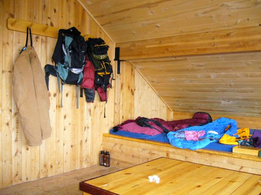 Community sleeping area in Sangree's Hut, 10th Mountain Hut Division