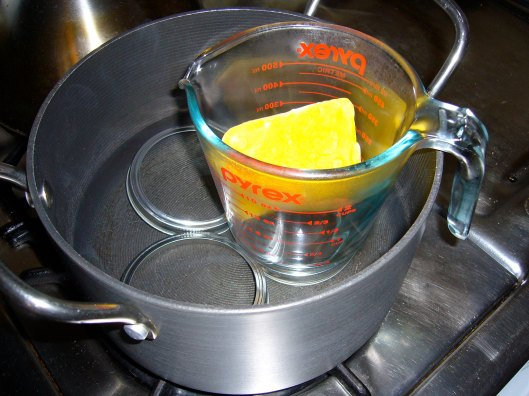 Double boiler for melting natural beeswax into homemade lip balm
