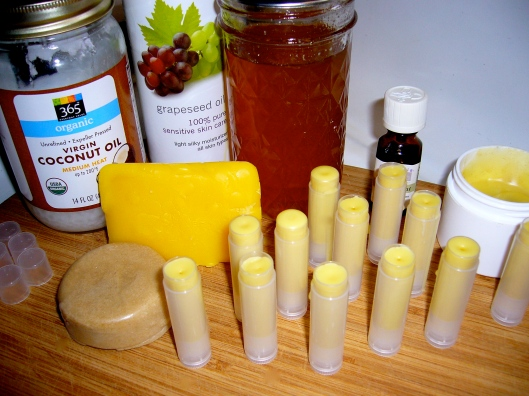Ingredients for homemade peppermint lip balm