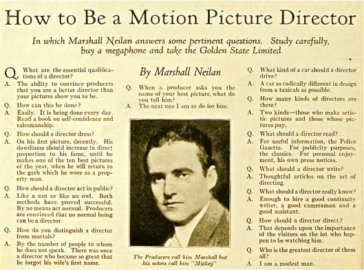 How To Be A Motion Picture Director