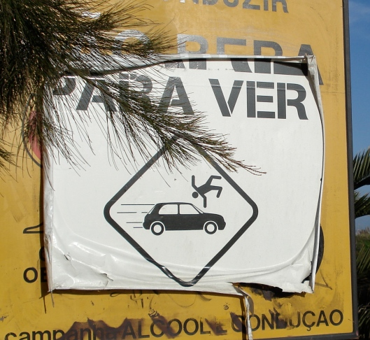 Pedestrian Caution Sign in Portugal