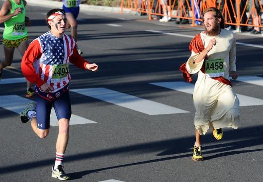 Jesus running the 2012 Bolder Boulder