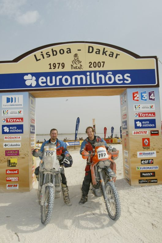 Chris and Steve at the finish of the '07 Dakar Rally. This would be the last time the race finishes in Dakar. After terrorist threats to kidnap the North American racers in both '07 and '08 the Rally was moved to South America.