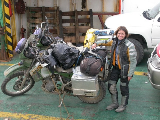 Meet Breezy, a KLR 650 with the attitude of an eleven year old b*tch. Excuse the crazy hair, on this particular morning we had been on a ferry in pretty rough seas for over 5 hours. I was gearing up for a pretty aggressive departure from the boat (crashing waves on a small cement ramp while the boat kept washing away from the ramp... Breezy decided not to start when it was our turn to unload. Chris' bike is behind Breezy with the yellow bag.