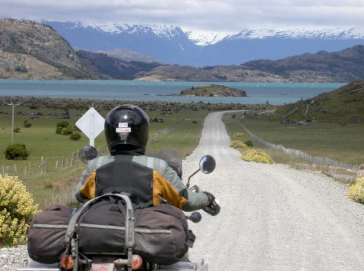 Spice Jones riding in Patagonia on her KLR 650